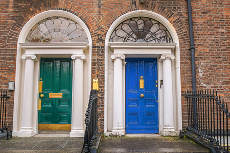 Georgian green and blue door in historical Dublin