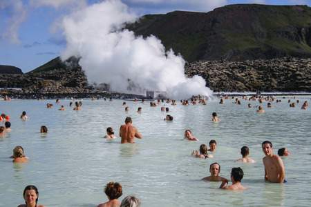 GRINDAVIK, ICELAND - July 27   People enjoying the famous Blue Lagoon geothermal spa in Grindavik near Reykjavik on July 27, 2007