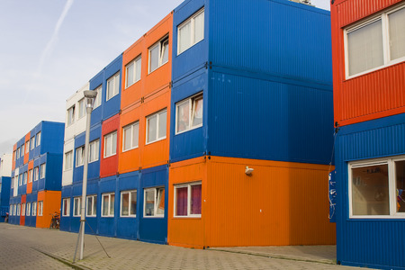 temporarily: colorful cargo containers are used for housing students in Amsterdam Stock Photo