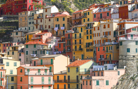 vernazza: beautiful town of Corniglia in cinqueterre in Italy with many colorful houses built on a cliff