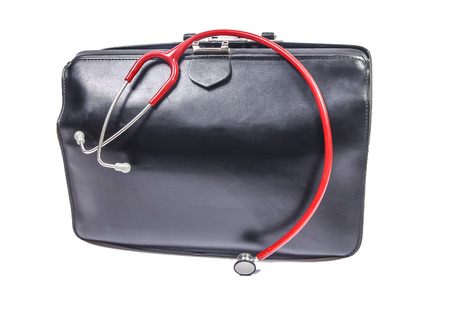 Doctors bag with small red stethoscope for children   photo