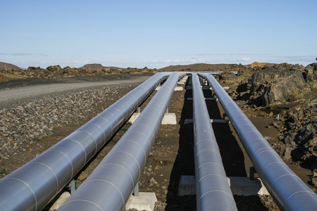 Aluminum pipes for transporting energy in rugged landscape   photo