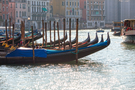 anchoring: Anchored Gondolas on the Canal Grande, Venice