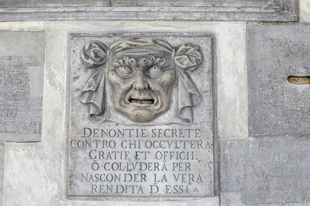 VENICE, ITALY-MARCH 10:Lion's Mouth postbox for anonymous denunciations, Doge's palace, Venice on March 10 2014 Stock Photo - 28361450
