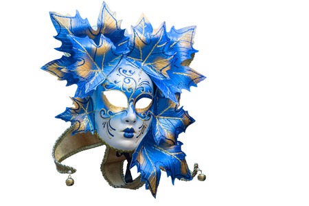 blue and gold venetian mask isolated on a white background
