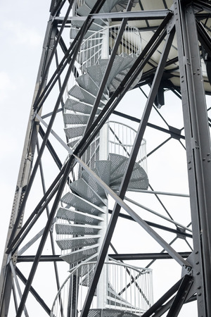 Modern outdoor industrial spiral staircase photo