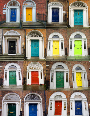 A photo collage of 16 colourful front doors to houses and homes photo