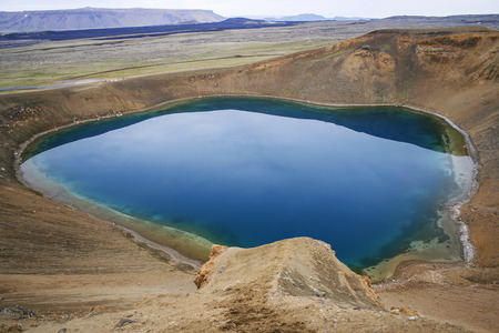 deepest: deep blue water in stora vita crater in Iceland