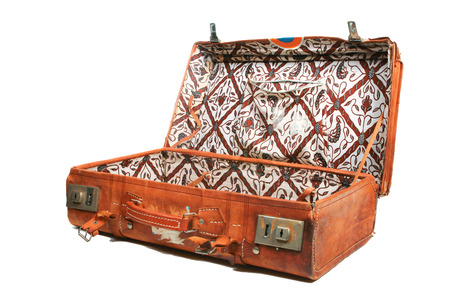 lining: Open leather suitcase with batik cotton lining