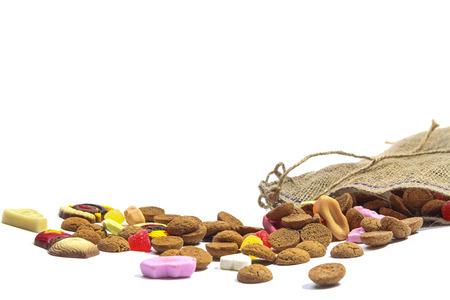 Zak met snoep voor de feestdag van Sinterklaas in Nederland en België Stockfoto - 29701309