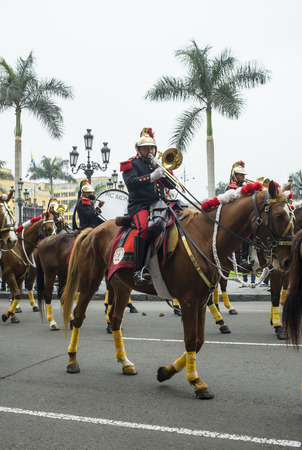 LIMA,PERU-JULY 6  Changing of the guard on the Plaza des Armas in Lima, Peru on July 6, 2014