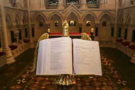 gospels: Open bible with gospels in medieval church in England