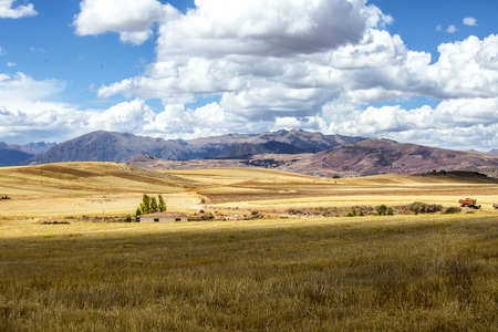 moray: Landscape with wheat in the sacred valley near Urubamba in Peru