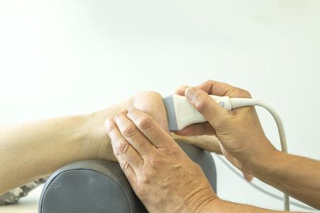 echo: Ultrasound echo on the heel of woman Stock Photo