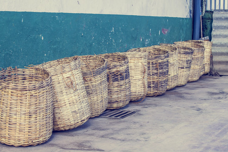 co operative: Wicker baskets at tea plantation in Sri Lanka