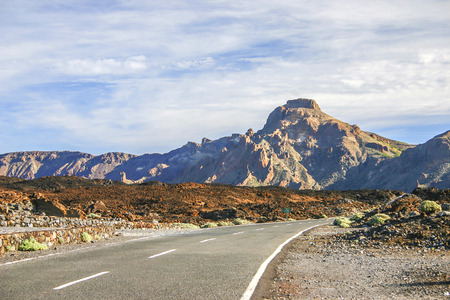 Road with mountain in sunset on Tenerife, one of the Canary Islands photo