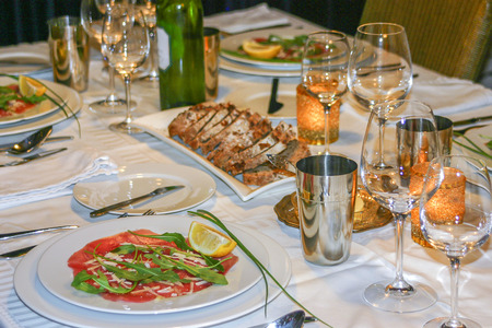 upscale: Luxury dinner table place setting