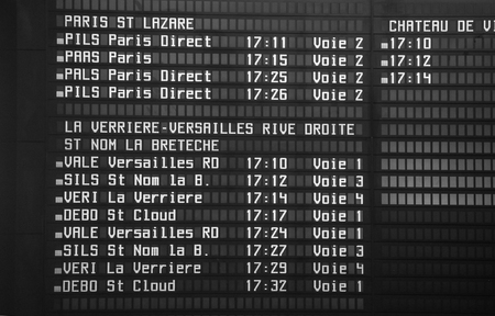 times: Schedule of arrival and departure of trains North Station (Gare du Nord)