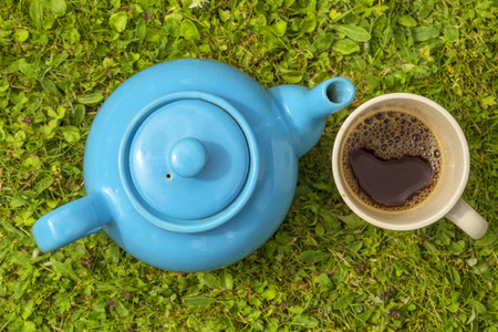 ouside: Blue teapot with cup filled with tea