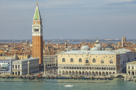 campanille: View on the city of Venice in Italy with the Doges Palace and San Marco Piazza Editorial