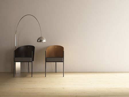 two chairs: two chairs to face blank wall