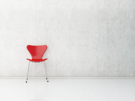 sedia vuota: rosso sedia di fronte a un muro bianco