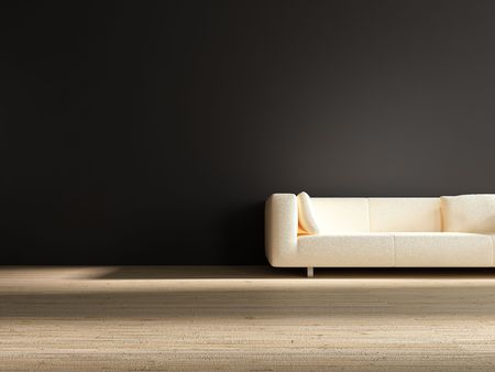 white Couch to face a blank black wall photo