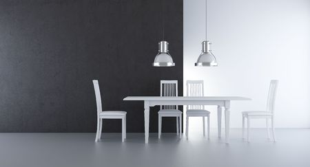 Chair and table to  face a blank wall Standard-Bild