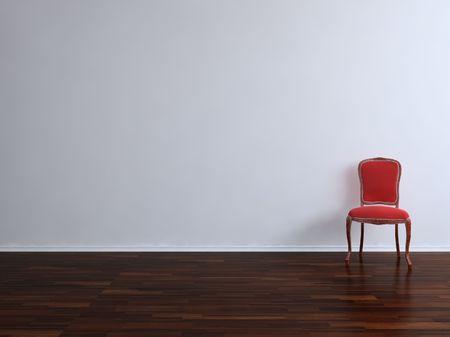 붉은 벽면을 마주보고있는 빨간 의자