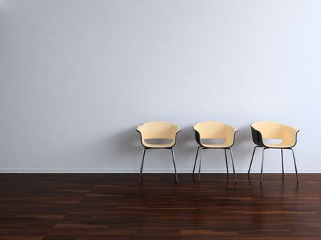 Three Chairs to  face a blank wall Standard-Bild