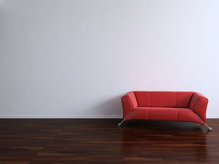 Red Couch to face a blank wall Stock Photo - 5503627