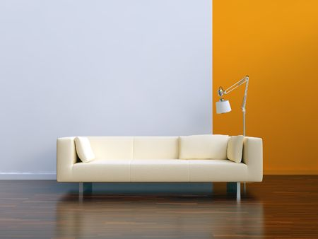 white Couch to face a blank wall Standard-Bild