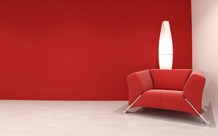 red sofa: Couch to face a blank wall Stock Photo