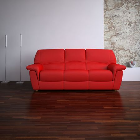 red leather Couch to face a blank wall Standard-Bild