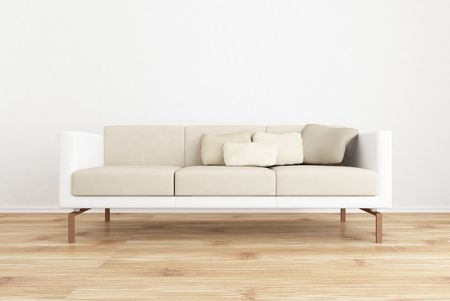 white couch to face a blank white wall - with parquet floor photo
