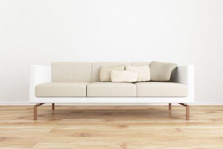 weiße Couch, um eine leere weiße Wand Gesicht - mit Parkettboden