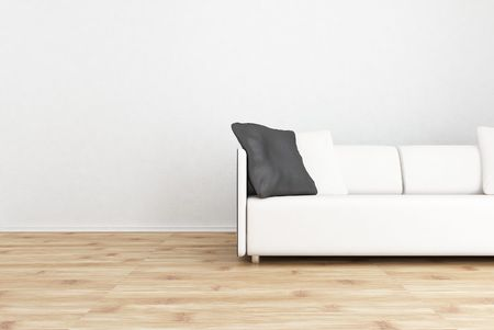 White leather Couch to face a blank wall - with black cushion