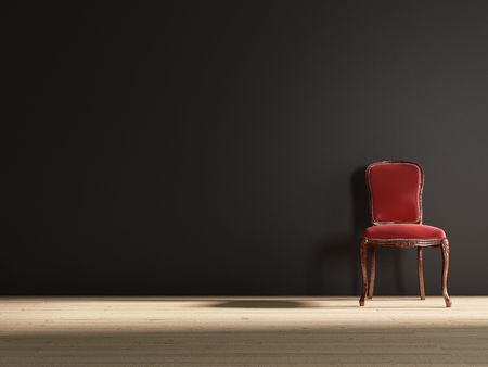 Old red baroque chair to face a blank wall photo