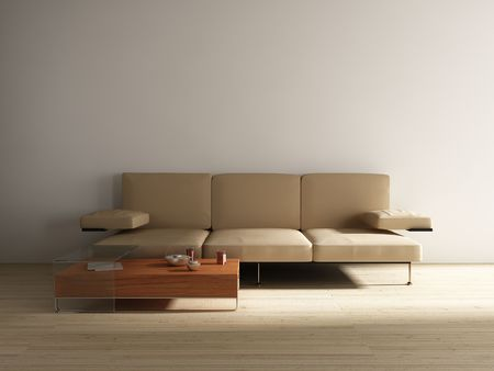 Leather Couch with table to face a blank white wall photo