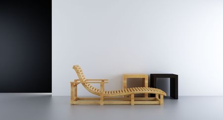 sunlounger and racks to face a blank white wall