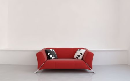 Red leather couch to face a blank white wall - front view photo