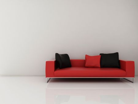 Red Leather Couch to face a blank white wall photo