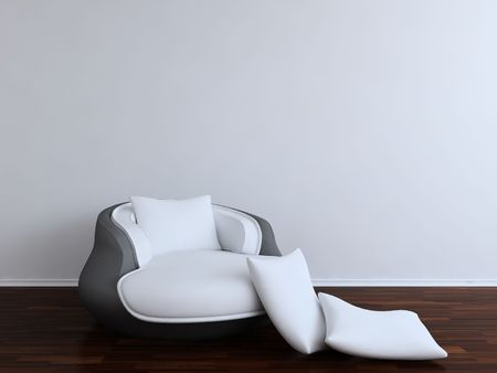 Divan Chair with white cushion - to face a blank white wall