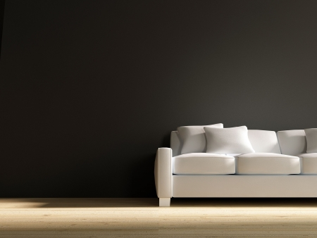 couch: White leather Couch to face a blank black wall