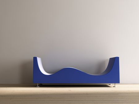 stylistic: Stylistic blue Couch to face a blank white wall Stock Photo