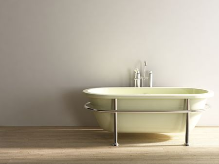 old bathtub to face a blank white wall - right side