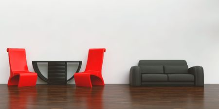 red chairs, table and black couch to face a blank white wall photo