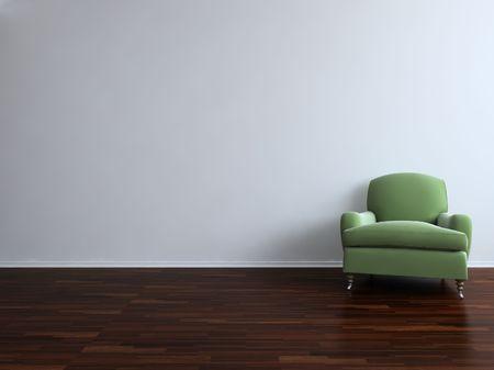 sedia vuota: Verde sedia di fronte a un muro bianco vuoto - con parquet - di destra della visualizzazione