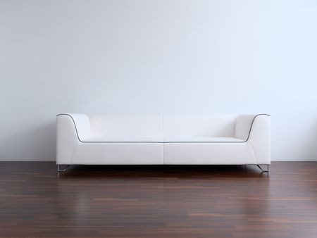 White leather Couch to face a blank white wall - front view Standard-Bild
