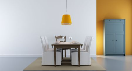Dining room - chairs, table and rack in green - interior scene Standard-Bild